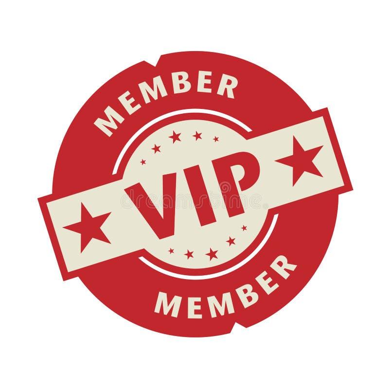 Γραμματόσημο ή ετικέτα με το VIP μέλος κειμένων ελεύθερη απεικόνιση δικαιώματος
