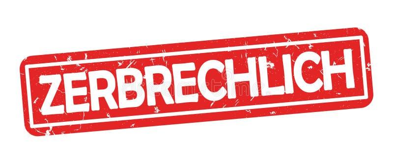 Γραμματόσημο για την τυπωμένη ύλη, που σχεδιάζεται για τη γερμανική βιομηχανία μεταφορών Μετάφραση κειμένων: εύθραυστος ελεύθερη απεικόνιση δικαιώματος