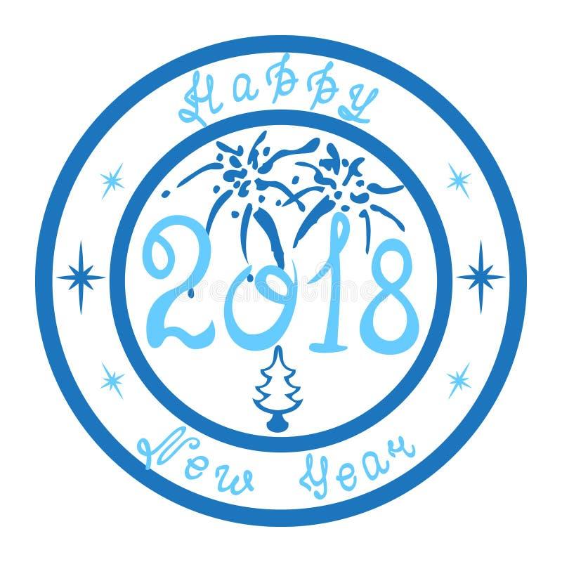 Γραμματόσημο καλή χρονιά 2018 στοκ εικόνες