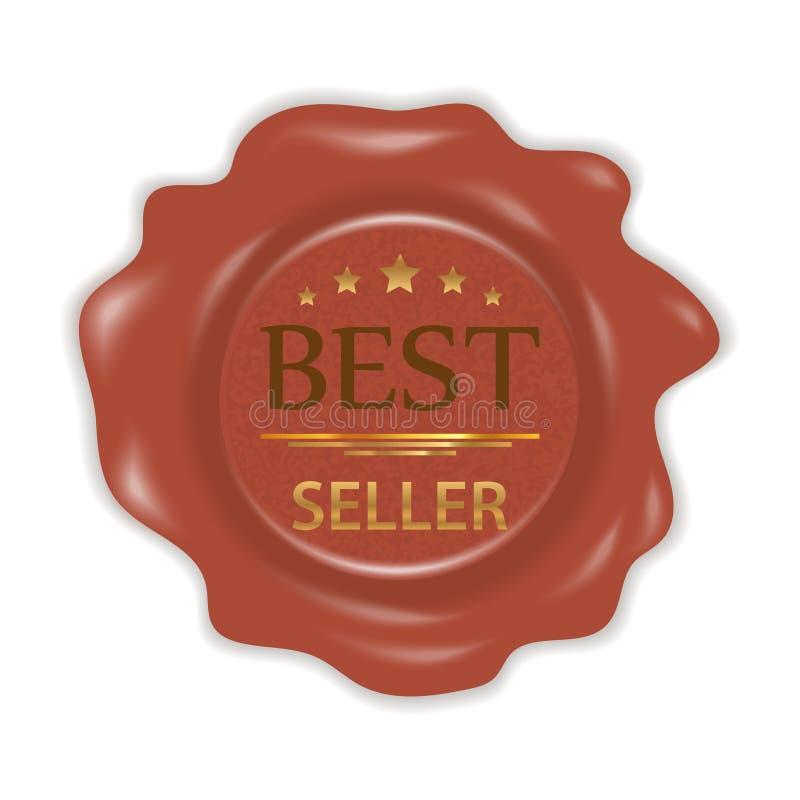 Γραμματόσημο κεριών Λαστιχένιο γραμματόσημο σφραγίδων με τον καλύτερο πωλητή διακριτικών που απομονώνεται στο άσπρο υπόβαθρο διάν απεικόνιση αποθεμάτων