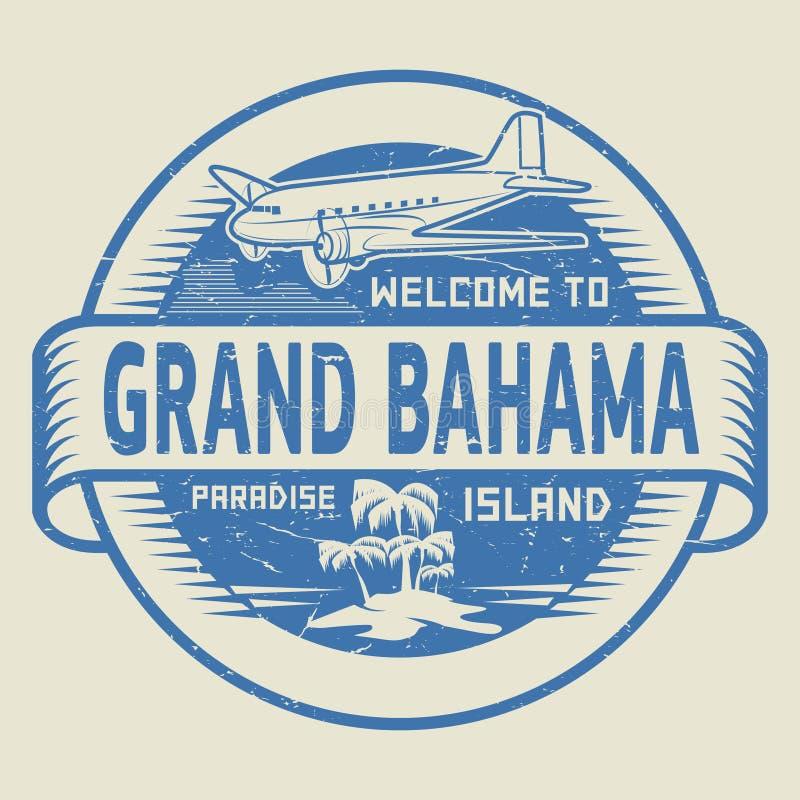 Γραμματόσημο με την υποδοχή κειμένων σε μεγάλο Bahama, νησί παραδείσου ελεύθερη απεικόνιση δικαιώματος