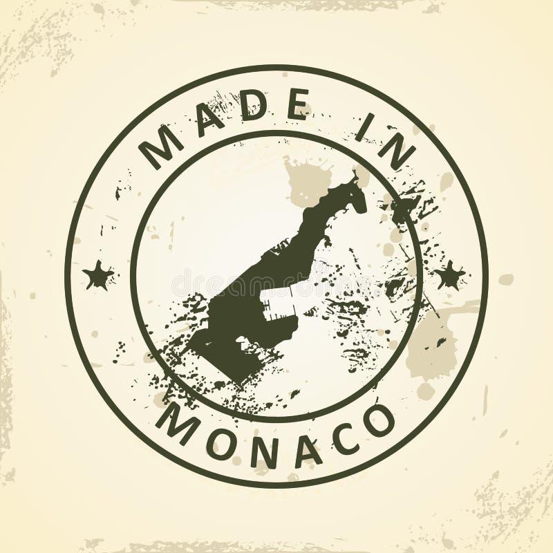 Γραμματόσημο με το χάρτη του Μονακό απεικόνιση αποθεμάτων