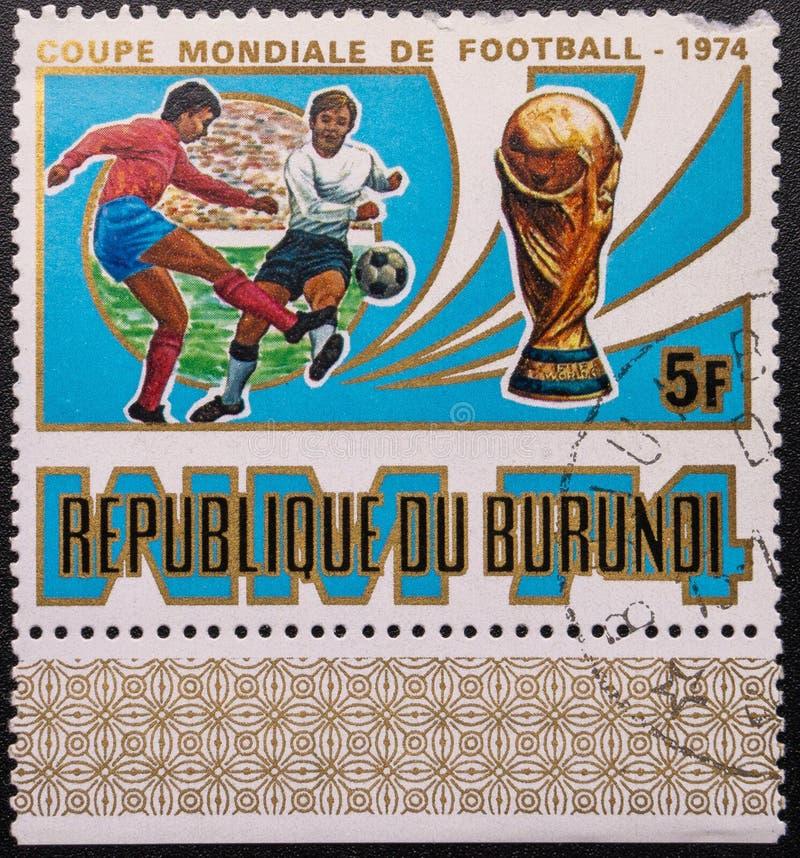 Γραμματόσημο 1974 Παγκόσμιο Κύπελλο Ποδόσφαιρο Δημοκρατία του Μπουρουντί στοκ εικόνες