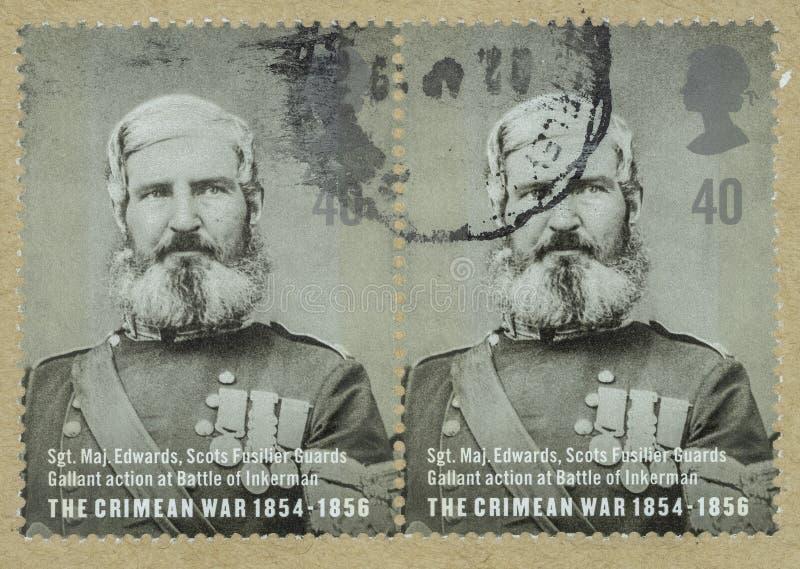 Γραμματόσημο της Μεγάλης Βρετανίας με ένα πορτρέτο Sgt Maj Edwards στοκ φωτογραφία με δικαίωμα ελεύθερης χρήσης