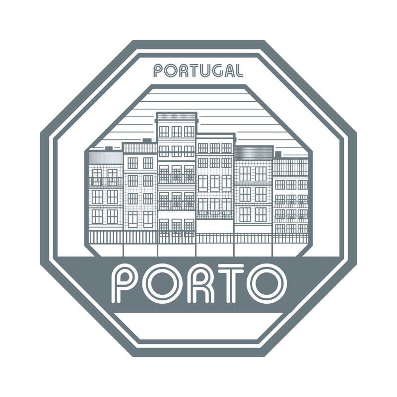 Γραμματόσημο του Πόρτο, Πορτογαλία διανυσματική απεικόνιση
