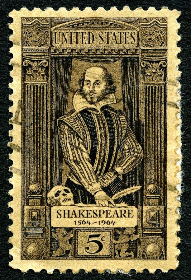 Γραμματόσημο του William Shakespeare ΗΠΑ στοκ φωτογραφίες