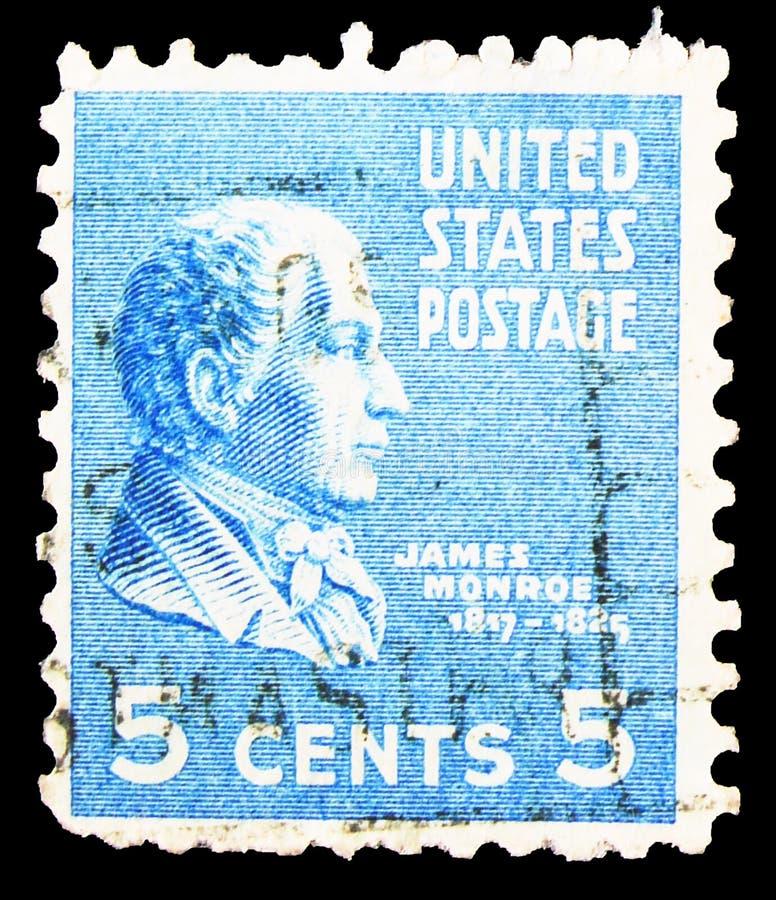 Γραμματόσημο τυπωμένο στις Ηνωμένες Πολιτείες δείχνει τον James Monroe (1758-1831), πέμπτο πρόεδρο της Ένωσης S Α , Προεδρική σει στοκ φωτογραφίες