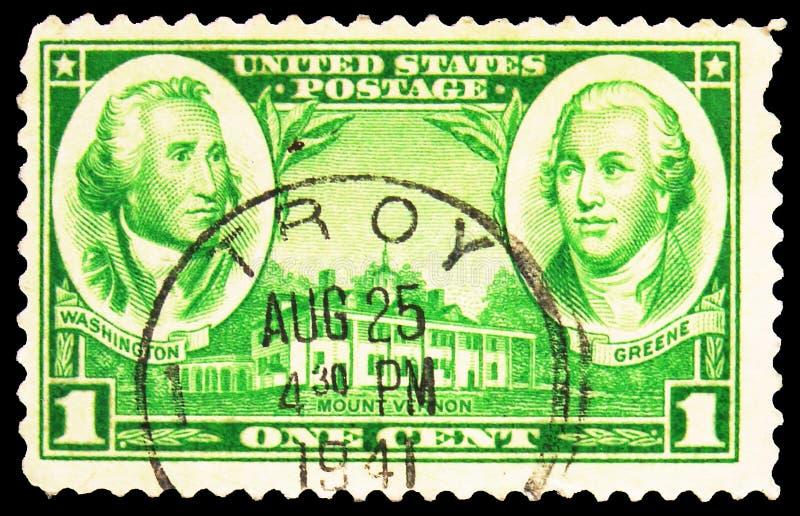 Γραμματόσημο τυπωμένο στις Ηνωμένες Πολιτείες δείχνει τους Στρατηγούς Τζορτζ Ουάσινγκτον, Ναθανάλ Γκριν και Μτ Βέρνον, Στρατιωτικ στοκ φωτογραφία