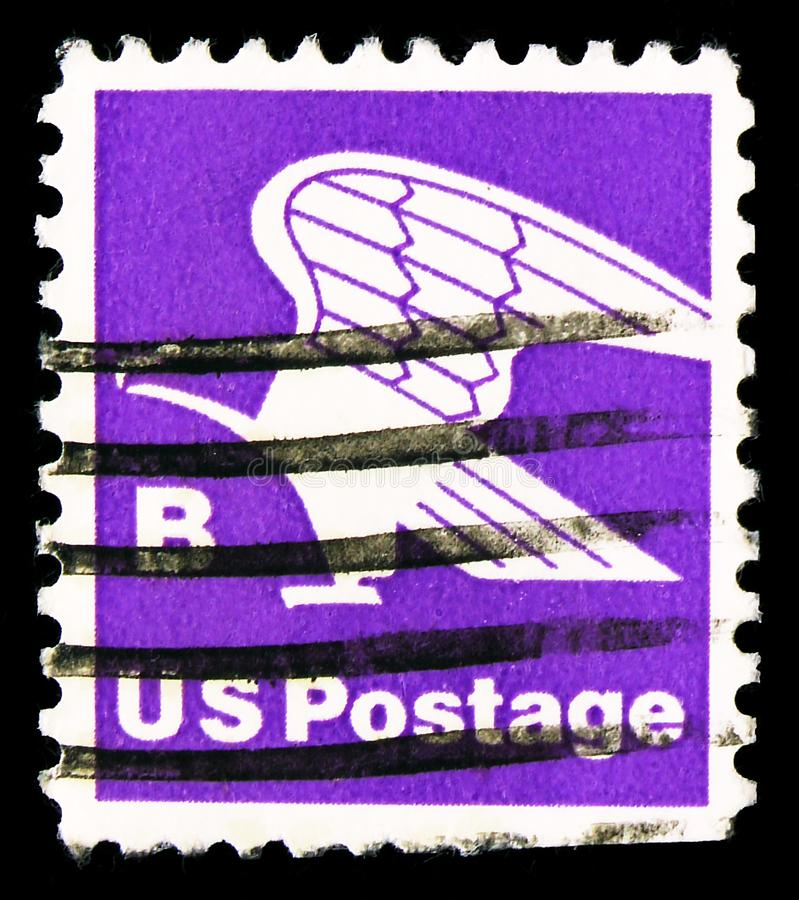 Γραμματόσημο τυπωμένο στις Ηνωμένες Πολιτείες δείχνει το Eagle, 1975-1981 Regular, γύρω στο 1981 στοκ εικόνες