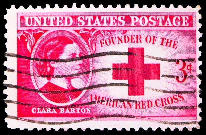 Γραμματόσημο τυπωμένο στις ΗΠΑ δείχνει την Clara Barton (1821-1912), Ιδρυτή του Αμερικανικού Ερυθρού Σταυρού, 3 c - λεπτά/σεντ τω στοκ εικόνες