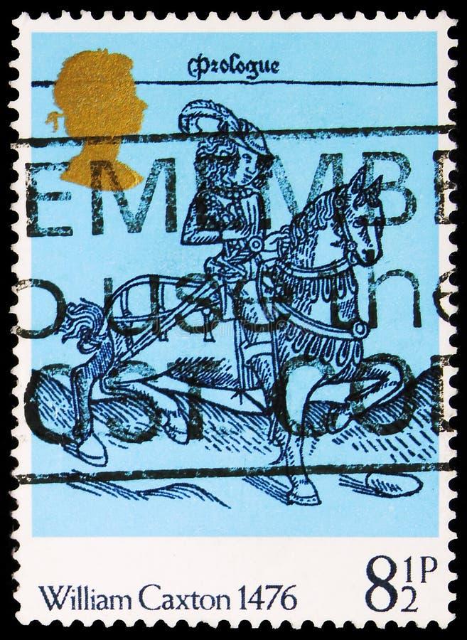 Γραμματόσημο τυπωμένο στο Ηνωμένο Βασίλειο δείχνει τον William Caxton 1476 -Woodcut από τις The Canterbury Tales, 500η επέτειο απ στοκ εικόνες