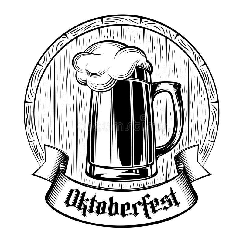 Γραμματόσημο υποβάθρου διακοπών Oktoberfest αφρού βαρελιών γυαλιού μπύρας ελεύθερη απεικόνιση δικαιώματος