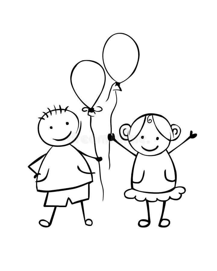 Γραμμικά αγόρι και κορίτσι με τα μπαλόνια Μικροί άνθρωποι ελεύθερη απεικόνιση δικαιώματος