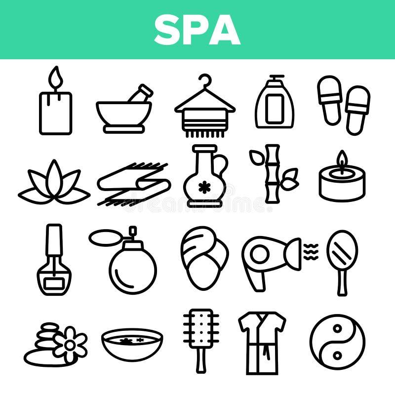 Γραμμικά διανυσματικά εικονίδια υπηρεσιών ομορφιάς SPA καθορισμένα ελεύθερη απεικόνιση δικαιώματος