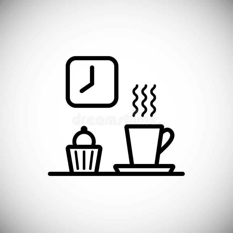 Γραμμικά εικονίδια Καθορισμένα στοιχεία του κλασικού χρόνου καφέ Φλυτζάνι, espresso, muffin απεικόνιση αποθεμάτων