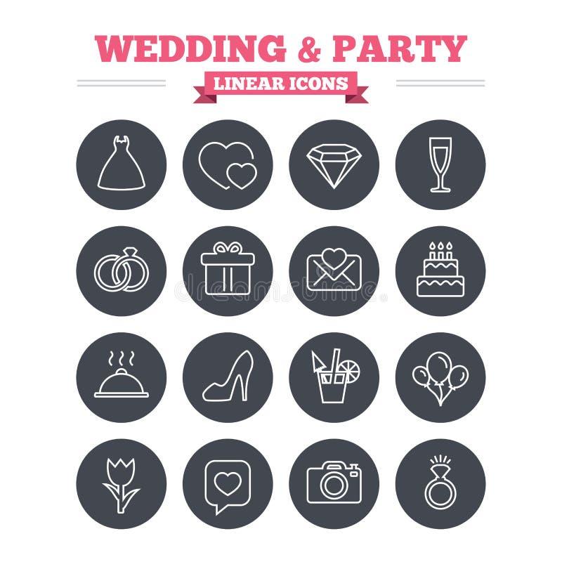 Γραμμικά εικονίδια γάμου και κομμάτων καθορισμένα Λεπτύντε την περίληψη απεικόνιση αποθεμάτων