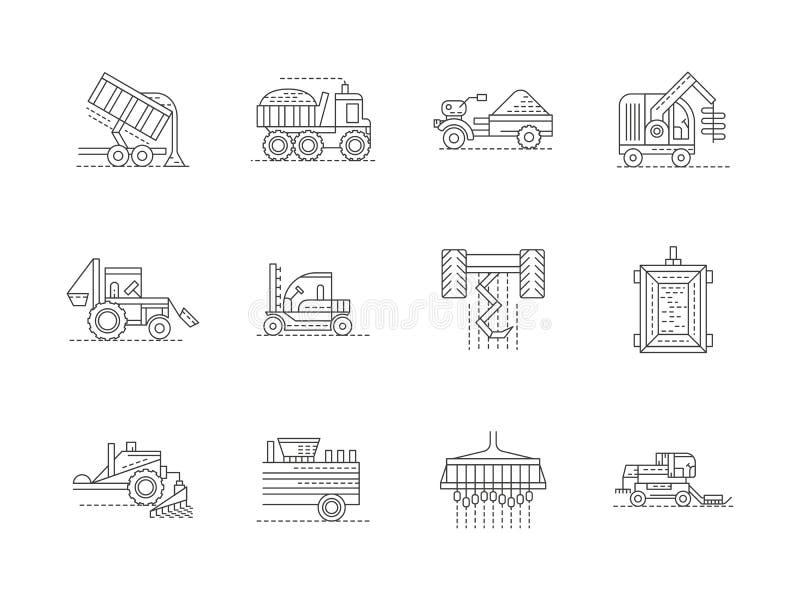 Γραμμικά εικονίδια γεωργικών μηχανημάτων καθορισμένα διανυσματική απεικόνιση