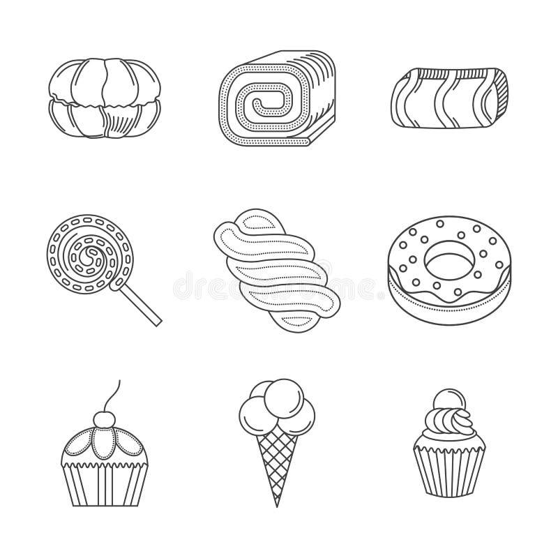 Γραμμικά εικονίδια για τα επιδόρπια διανυσματική απεικόνιση