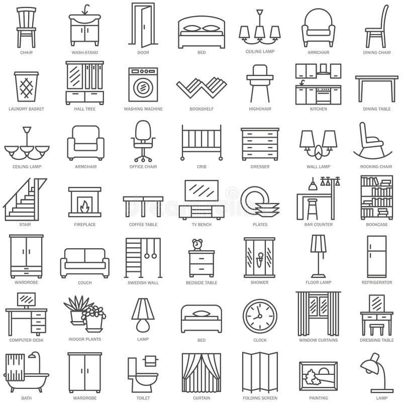Γραμμικά εικονίδια επίπλων δωματίων καθορισμένα ελεύθερη απεικόνιση δικαιώματος