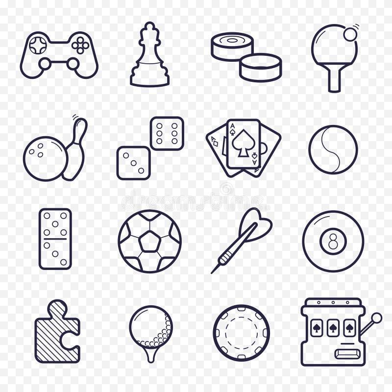 Γραμμικά εικονίδια παιχνιδιών Παιχνίδι, εικονίδια γραμμών αθλητικών παιχνιδιών ελεύθερη απεικόνιση δικαιώματος