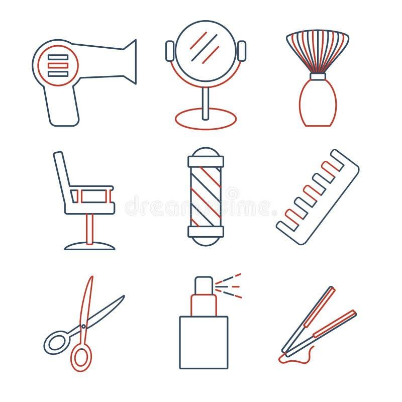 Γραμμικά εικονίδια barbershop καθορισμένα Καθολικό εικονίδιο hairstyle στη χρήση στον Ιστό και κινητό UI απεικόνιση αποθεμάτων