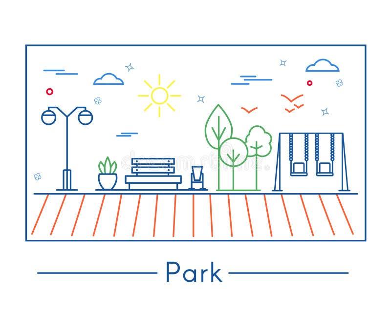Γραμμικά στοιχεία σχεδίου πόλεων και πάρκων στοκ εικόνα