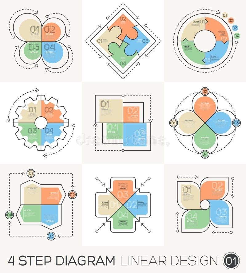 Γραμμικά στοιχεία σχεδίου γραμμών γραφικά & πρότυπο Infographic διανυσματική απεικόνιση