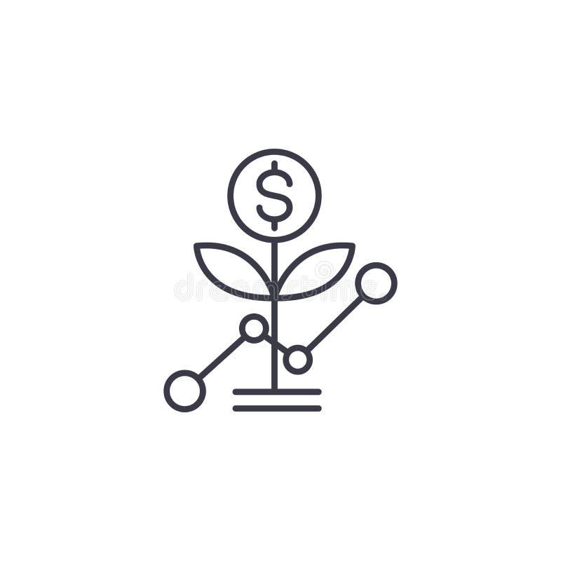 Γραμμική έννοια εικονιδίων αύξησης ξεκινήματος Διανυσματικό σημάδι γραμμών αύξησης ξεκινήματος, σύμβολο, απεικόνιση ελεύθερη απεικόνιση δικαιώματος