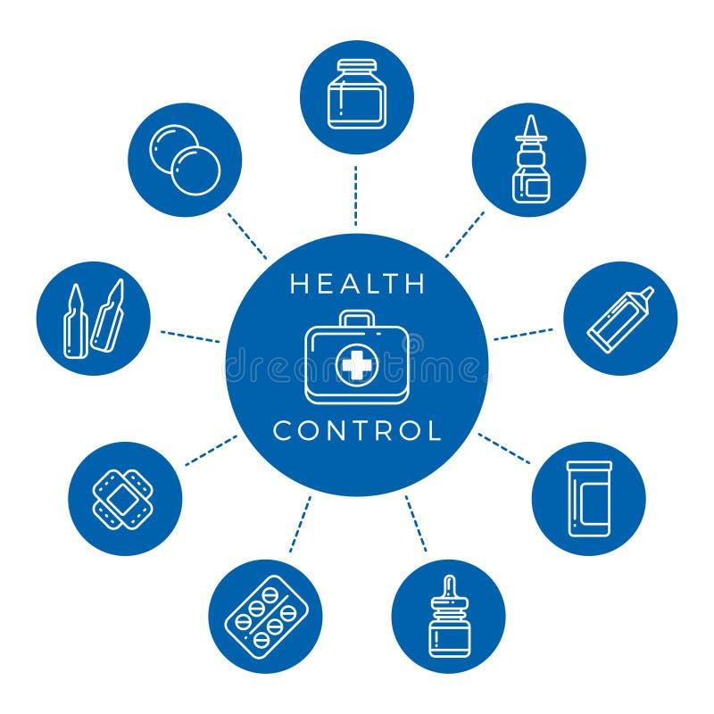 Γραμμική έννοια εικονιδίων ελέγχου υγείας διανυσματική απεικόνιση