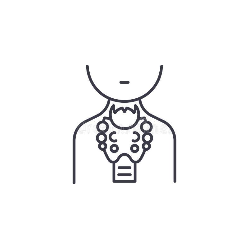 Γραμμική έννοια εικονιδίων θυροειδών αδένων Διανυσματικό σημάδι γραμμών θυροειδών αδένων, σύμβολο, απεικόνιση ελεύθερη απεικόνιση δικαιώματος