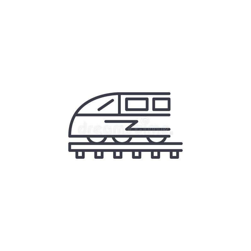 Γραμμική έννοια εικονιδίων τραίνων Διανυσματικό σημάδι γραμμών τραίνων, σύμβολο, απεικόνιση διανυσματική απεικόνιση