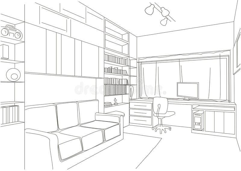 Γραμμική αρχιτεκτονική αίθουσα γραφείων σκίτσων απεικόνιση αποθεμάτων