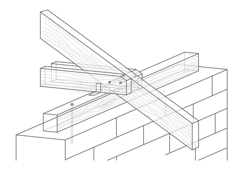 Γραμμική αρχιτεκτονική κατασκευή στεγών σκίτσων ελεύθερη απεικόνιση δικαιώματος