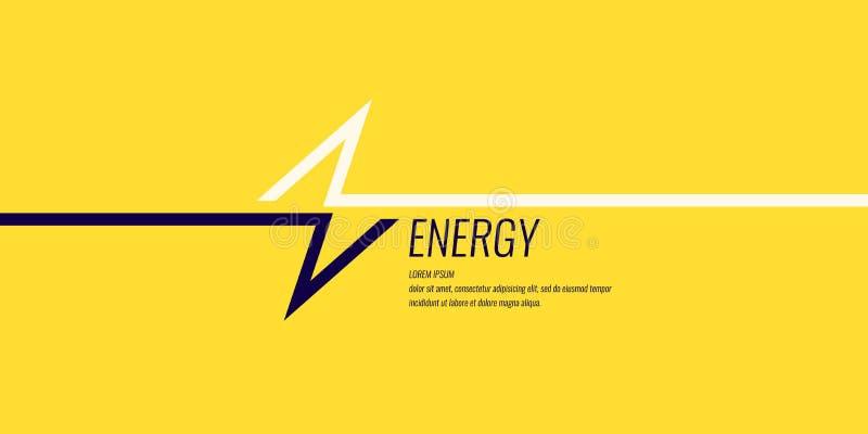 Γραμμική εικόνα της αστραπής σε ένα επίπεδο κίτρινο υπόβαθρο με το κείμενο ελεύθερη απεικόνιση δικαιώματος