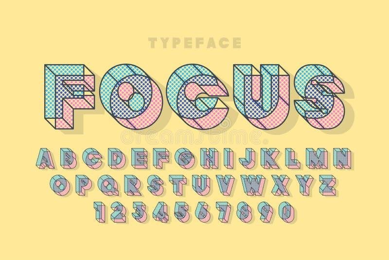 Γραμμική ημίτοή αρχική τρισδιάστατη πηγή επίδειξης, αλφάβητο, επιστολές ελεύθερη απεικόνιση δικαιώματος
