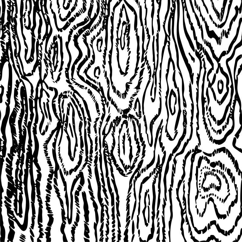 Γραμμική μαύρη ξύλινη σύσταση στην άσπρη διανυσματική εικόνα υποβάθρου ελεύθερη απεικόνιση δικαιώματος