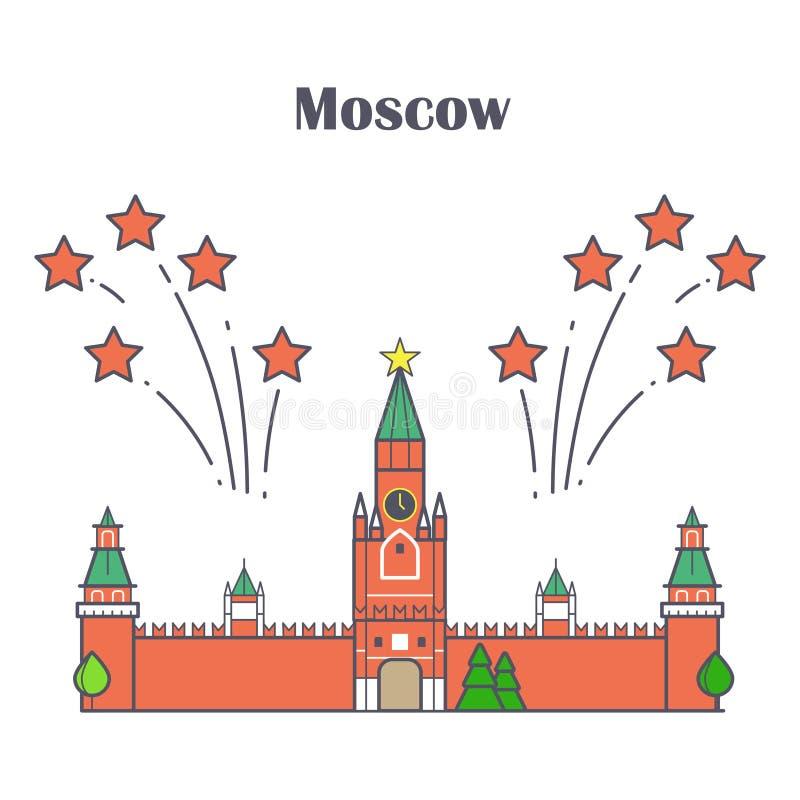 Γραμμική Μόσχα Κρεμλίνο με τα κόκκινα πυροτεχνήματα αστεριών απεικόνιση αποθεμάτων