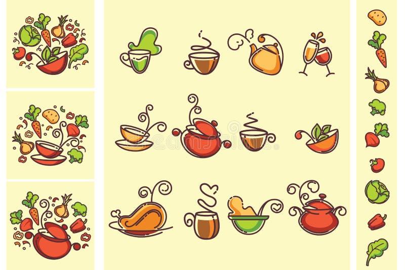 Γραμμική συλλογή τροφίμων διανυσματική απεικόνιση