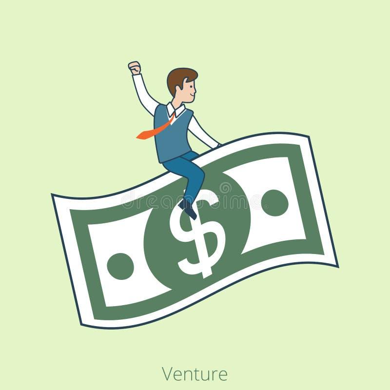Γραμμικοί επίπεδοι επιχειρηματίες που οδηγούν το τραπεζογραμμάτιο δολαρίων απεικόνιση αποθεμάτων