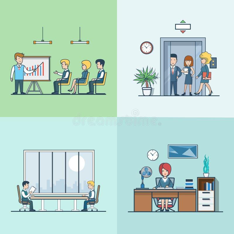 Γραμμικός επίπεδος ανελκυστήρας χώρων εργασίας Businesspeople διανυσματική απεικόνιση