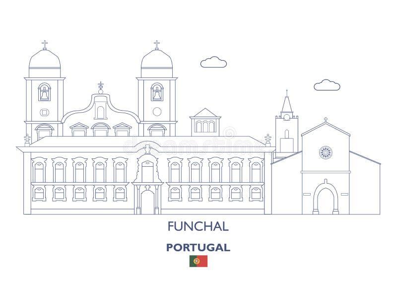 Γραμμικός ορίζοντας πόλεων του Φουνκάλ, Πορτογαλία διανυσματική απεικόνιση