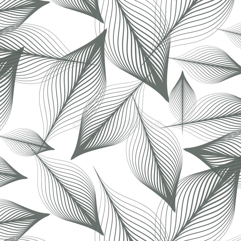 Γραμμικό διανυσματικό σχέδιο, που επαναλαμβάνει τα αφηρημένα φύλλα, γκρίζα γραμμή φύλλου ή λουλούδι, floral γραφικό καθαρό σχέδιο απεικόνιση αποθεμάτων