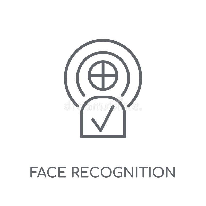 Γραμμικό εικονίδιο αναγνώρισης προσώπου Σύγχρονη αναγνώριση προσώπου περιλήψεων lo απεικόνιση αποθεμάτων