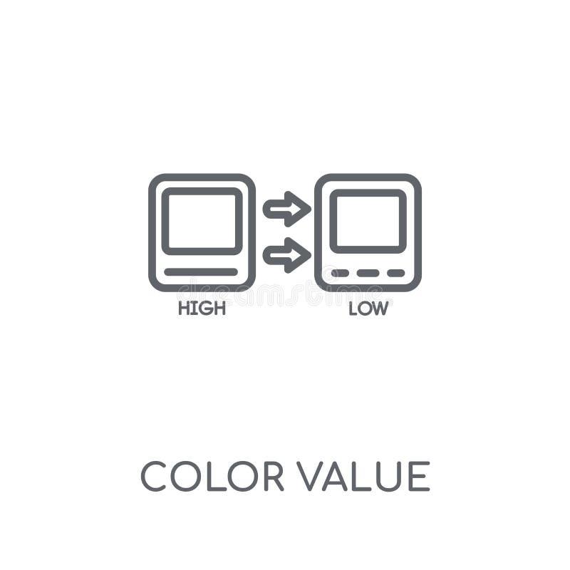 Γραμμικό εικονίδιο αξίας χρώματος Σύγχρονη έννοια λογότυπων αξίας χρώματος περιλήψεων διανυσματική απεικόνιση