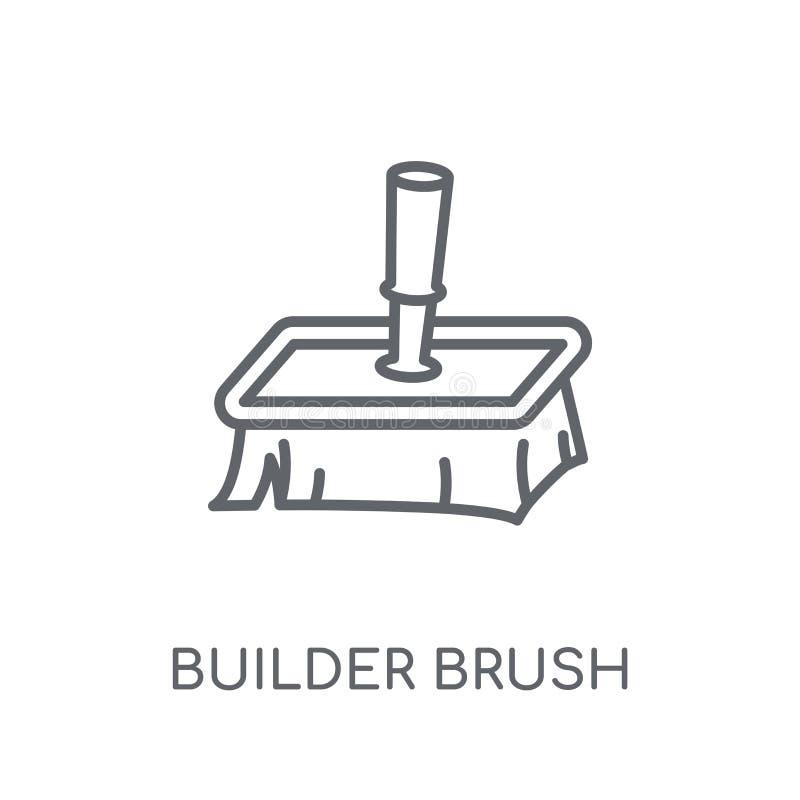 γραμμικό εικονίδιο βουρτσών οικοδόμων Σύγχρονο λογότυπο βουρτσών οικοδόμων περιλήψεων con διανυσματική απεικόνιση