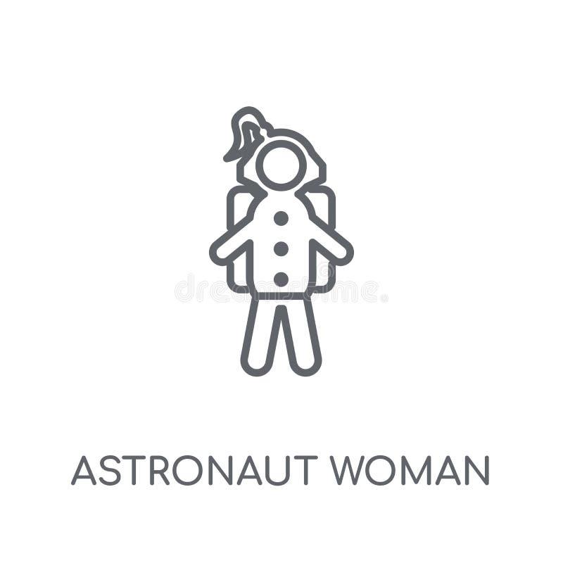 Γραμμικό εικονίδιο γυναικών αστροναυτών Σύγχρονο λογότυπο γυναικών αστροναυτών περιλήψεων διανυσματική απεικόνιση