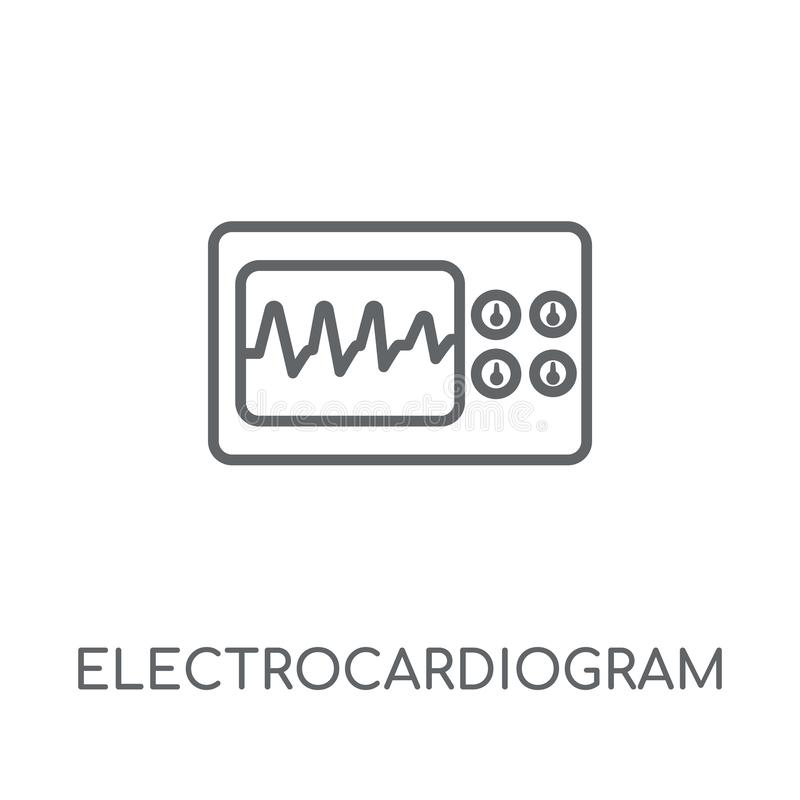 Γραμμικό εικονίδιο ηλεκτροκαρδιογραφημάτων Σύγχρονο ηλεκτροκαρδιογράφημα περιλήψεων διανυσματική απεικόνιση