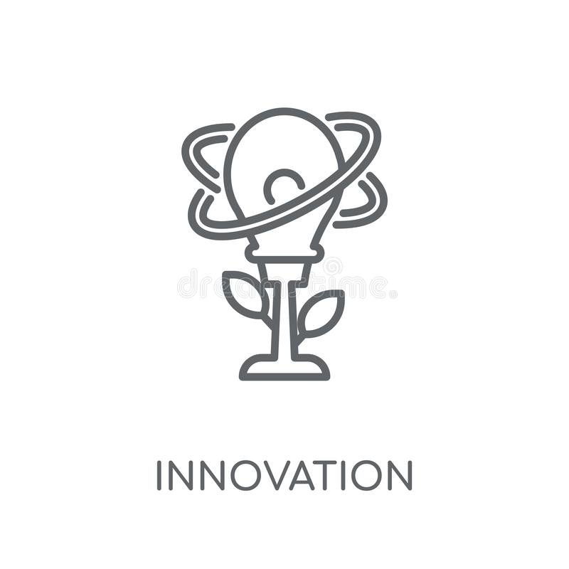 Γραμμικό εικονίδιο καινοτομίας Σύγχρονη έννοια ο λογότυπων καινοτομίας περιλήψεων διανυσματική απεικόνιση