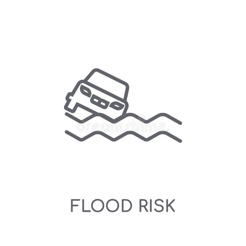 Γραμμικό εικονίδιο κινδύνου πλημμυρών Σύγχρονη έννοια ο λογότυπων κινδύνου πλημμυρών περιλήψεων διανυσματική απεικόνιση