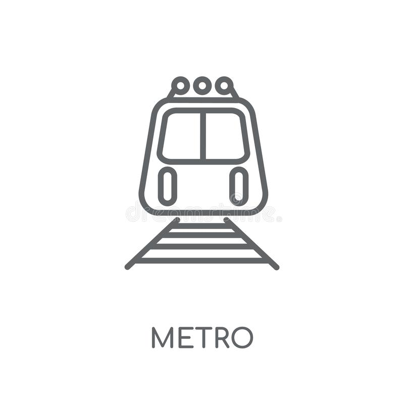 Γραμμικό εικονίδιο μετρό Σύγχρονη έννοια λογότυπων μετρό περιλήψεων στο άσπρο BA ελεύθερη απεικόνιση δικαιώματος